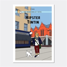 Hipster Tintin Print A4 -home-and-wedding--The Vault