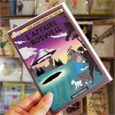 Tintin Roswell Incident Greeting Card-gift-cards-and-tags-The Vault
