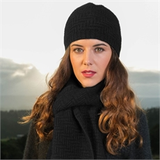 Herringbone Beanie Charcoal-for-her-The Vault