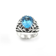 Snowflake Ring Blue Topaz-jewellery-The Vault