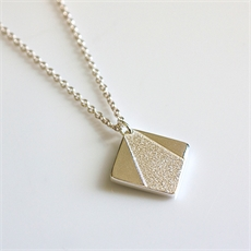 Geo Square Necklace Silver-jewellery-The Vault