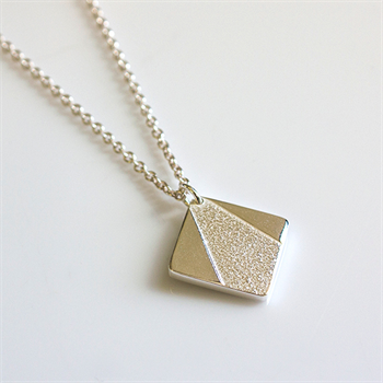 Geo Square Necklace Sterling Silver