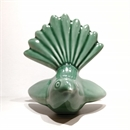 Ceramic Fantail Wall Art Emerald Green