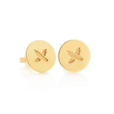 Discologo Studs 9ct Yellow Gold -jewellery-The Vault