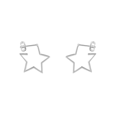 Dainty Open Star Hoops Stg-new-The Vault