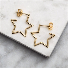 Dainty Open Star Hoops Gold-new-The Vault