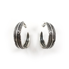 Twin Feather Hoop Earrings-new-The Vault