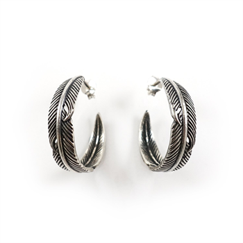 Twin Feather Hoop Earrings