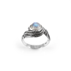 Twin Feather Ring Moonstone-new-The Vault