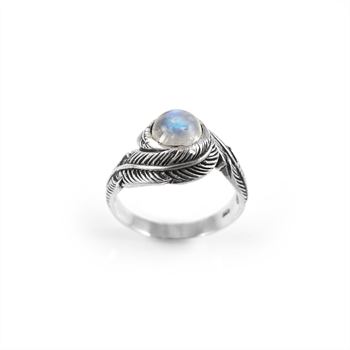 Twin Feather Ring Moonstone