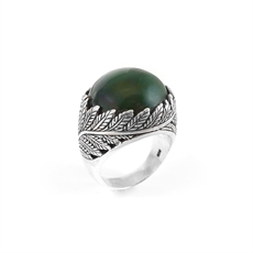 Twin Fern Ring Greenstone-new-The Vault