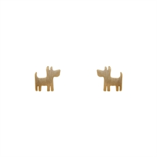 Funky Play Earrings Dog Gold-new-The Vault