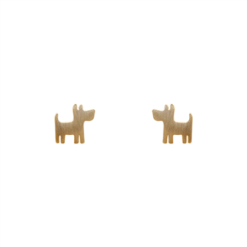 Funky Play Earrings Dog Gold
