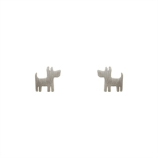 Funky Play Earrings Dog Silver-new-The Vault