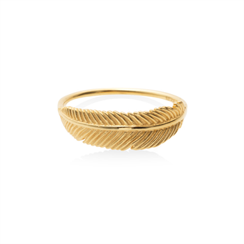 Miromiro Feather Ring 9ct Gold Size O