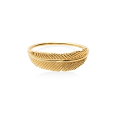 Miromiro Feather Ring 9ct Gold Size M -jewellery-The Vault