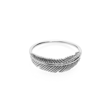 Miromiro Feather Ring Silver Size M-jewellery-The Vault