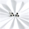 Tiny Crystal Trio Studs Stg Silver Black-new-The Vault