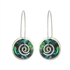 Silver Paua Spiral Drop Earrings-jewellery-The Vault