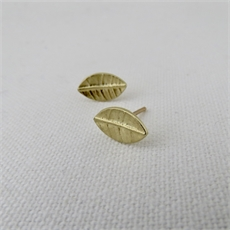 Tiny Leaf Studs Gold Plate  -jewellery-The Vault