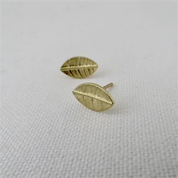 Tiny Leaf Studs Gold Plate
