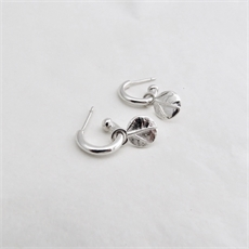 Leaf Dot Charm Hoops Silver-jewellery-The Vault