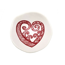 Red Aroha on White 7cm Bowl-home-The Vault