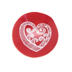 White Aroha on Red Bowl 7cm-home-The Vault
