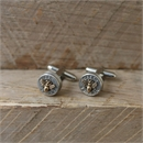 Bullet Head Cufflinks w Bronze Bee