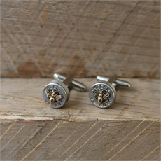 Bullet Head Cufflinks w Bronze Bee -artists-The Vault