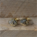 Steampunk Cufflinks Gold Plate Oval