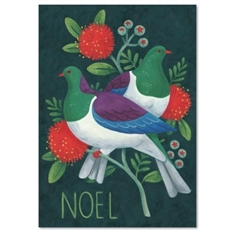 Kereru on Pohutukawa Branch Card-new-The Vault