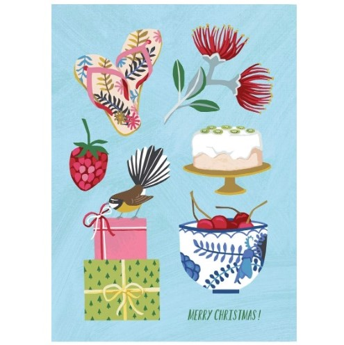 Merry Christmas NZ icons Card - NZ made and imported