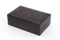 Leather Partitioned Jewellery Box -Black-cuff-link-boxes-The Vault