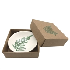 Green Fern on White Bowl 7cm-new-The Vault