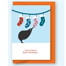 Kiwi Stockings Single Greeting Card