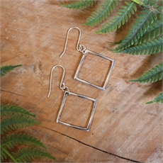 Mobius Square Earrings Stg Silver-jewellery-The Vault