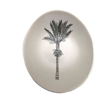 Black Nikau on White Bowl 10cm-new-The Vault