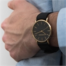 Zeus Gold Watch Black Leather Strap