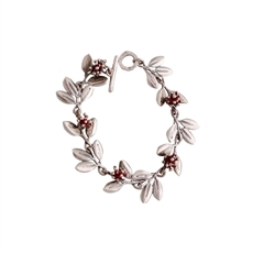 Pohutukawa Bracelet Silver with Ochre-jewellery-The Vault