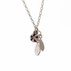 Red Manuka Pod & Leaves Necklace Garnet-jewellery-The Vault