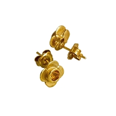 Citrine Quatrefoil Gold Plated Stg Studs-jewellery-The Vault