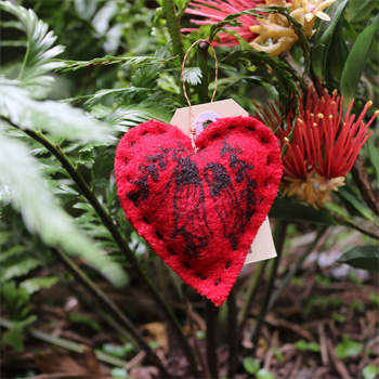 Heart Blanket Decoration Kowhai Red