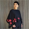 Merino Poncho Large Poppy Black-for-her-The Vault