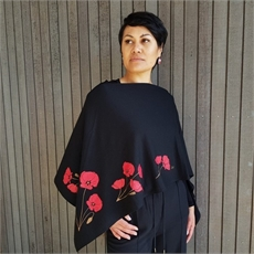 Merino Poncho Large Poppy Black-artists-and-brands-The Vault