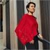 Merino Poncho Large Poppy Ruby-for-her-The Vault
