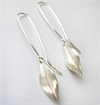 Leaf Earrings Long Hooks Silver-jewellery-The Vault