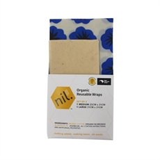 Organic Beeswax Food Wrap 2pk BlueFlower-new-The Vault