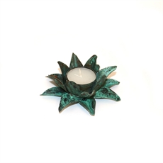 Flower Candle Holder Sml Green Patina-home-The Vault