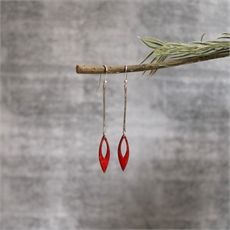 Long Single Leaf Earrings Silver Red-jewellery-The Vault